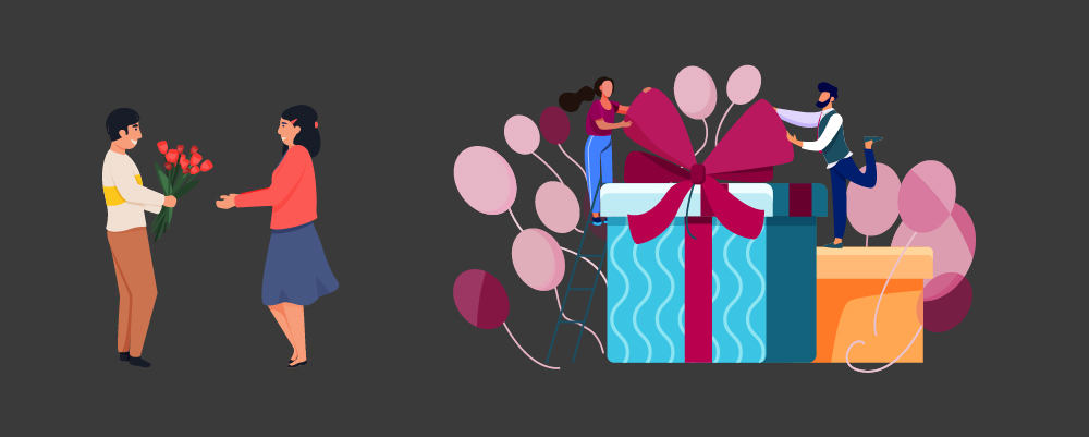Man giving flowers on the left and man giving big gifts on the right as their anniversary gifts