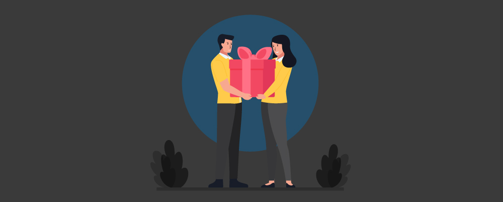 Man and Woman giving each other anniversary gifts